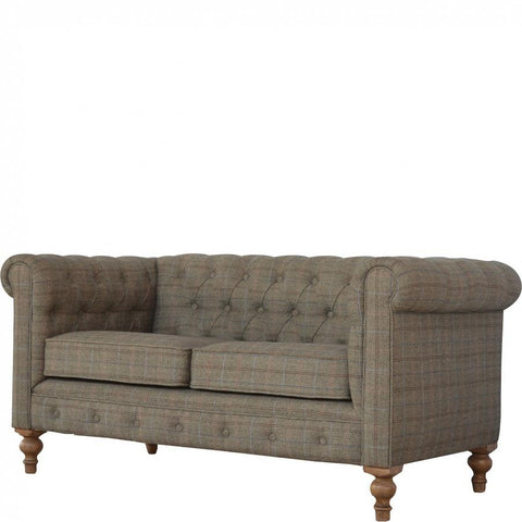 Hand Crafted Tweed Upholstered 2 Seater Chesterfield Sofa