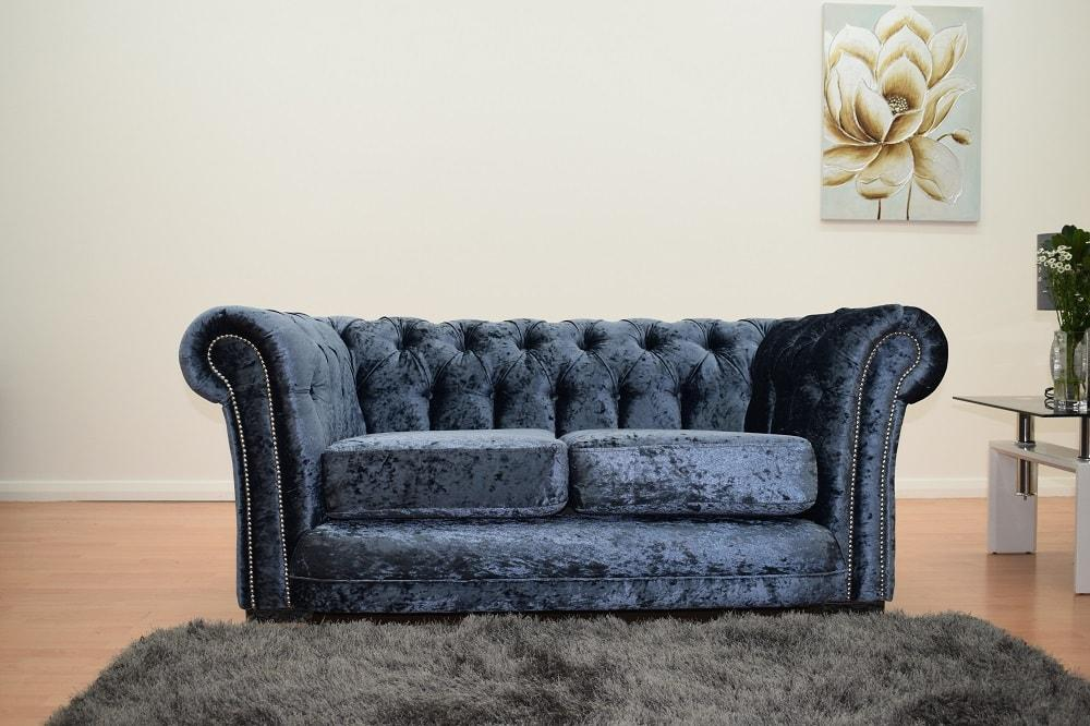 Warwick Chesterfield Blue Velvet Sofa Suite