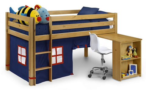 Wendy Kids Mid Sleeper Bed With Desk, Tent & Mattress