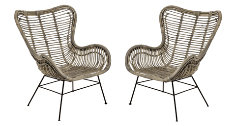 Full Rattan Wing Chair - Set of 2