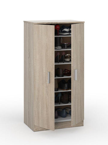 Zap Oak Effect 6 Shelves Shoe Cabinet