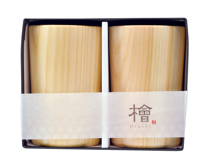 Yamaco Sytlish Hinoki beer glass 2P set (160ml)