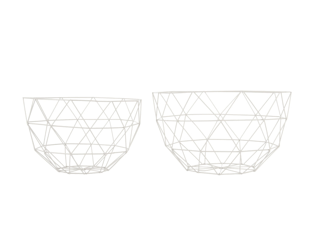 Fruit bowl set Linea metal white