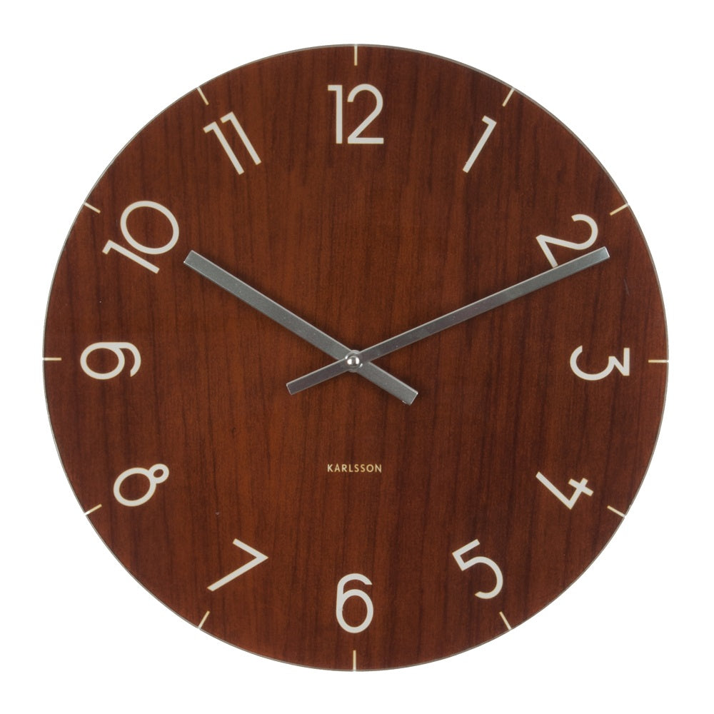 Karlsson Wall Clock Glass Wood Medium