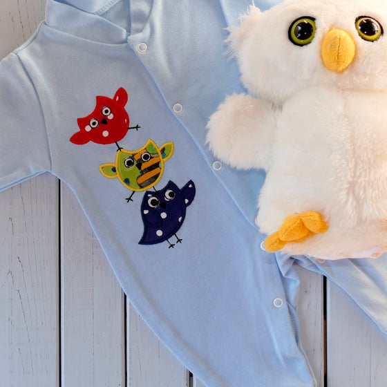 Organic Sleepsuit | Owl applique design