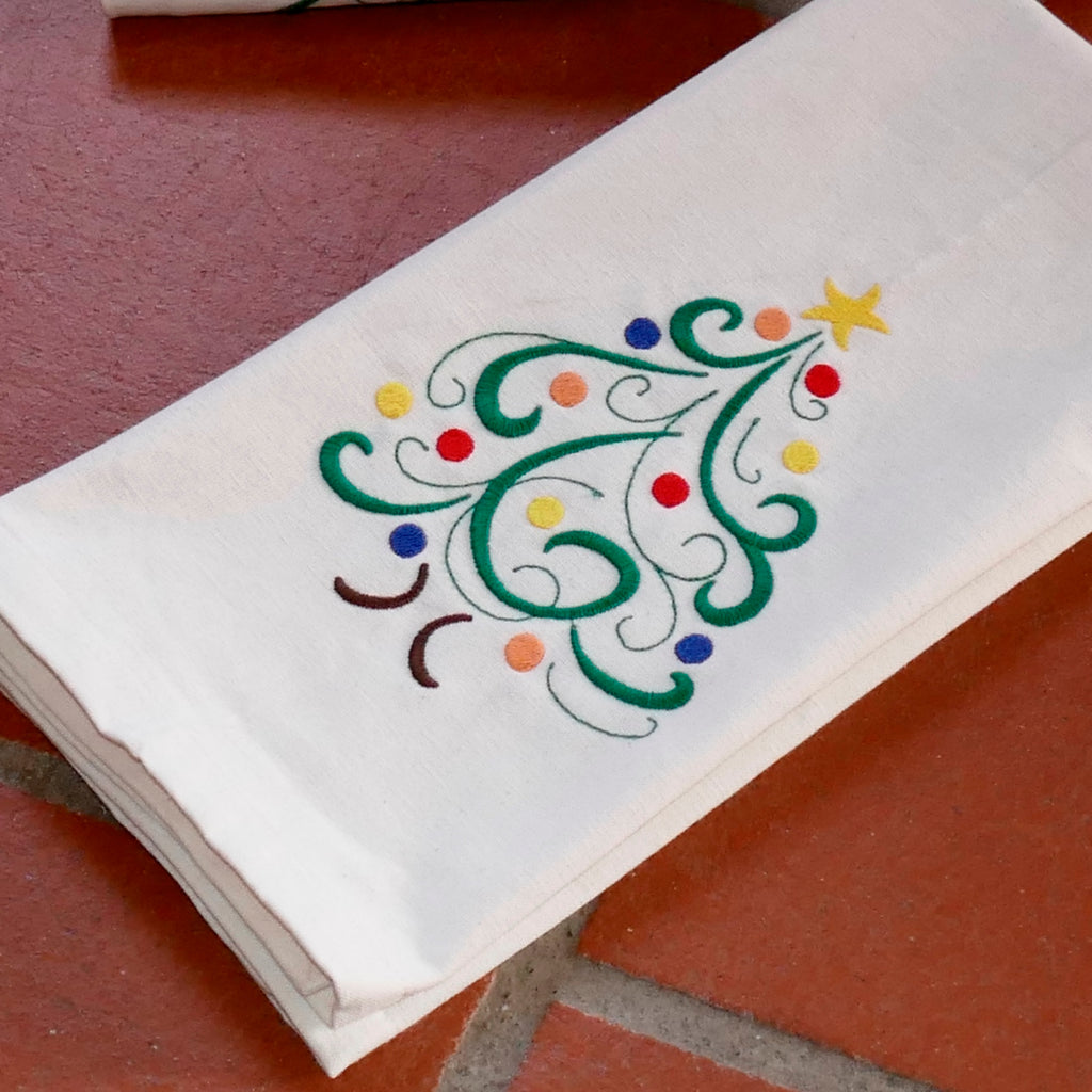 ....Oh Christmas Tree Tea Towel - Organic Cotton ..Sapin de Noël torchon coton bio....