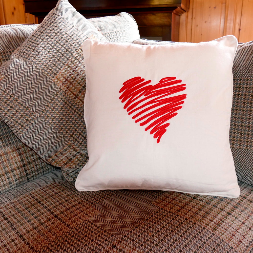 Embroidered Heart Cushion Cover