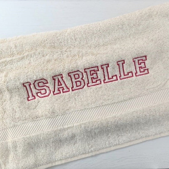 ....Personalised Organic Terry Cotton Hand Towel..Serviette de toilette éponge personnalisés....
