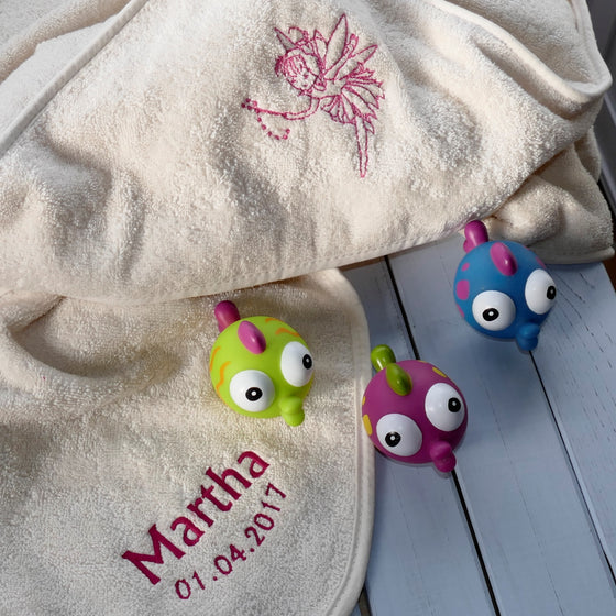 ....'Fairy' - Personalised Terry Cotton Hooded Baby Towel..'Fée' - Cape de bain en coton bio personnalisé....