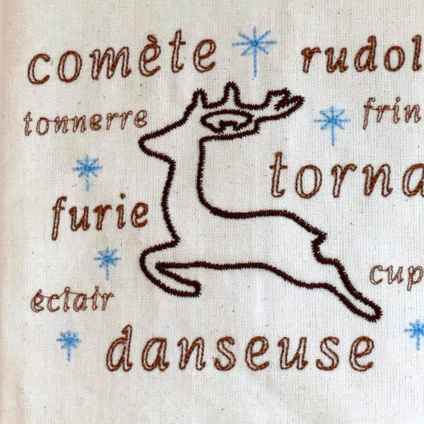 Sac de cadeaux Canvas Bag with all 9 reindeer names