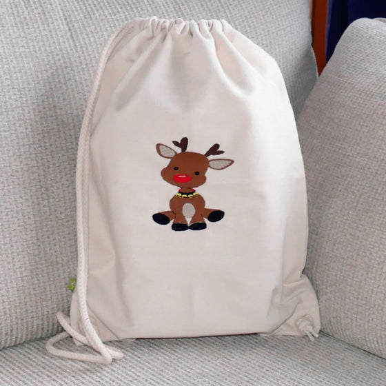 ....Cute Reindeer Canvas Bag - 100% organic cotton..Sac en toile - Bébé Renne - 100% coton bio....