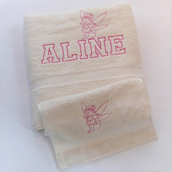 personalised shower towel, fairy, boat, organic cotton