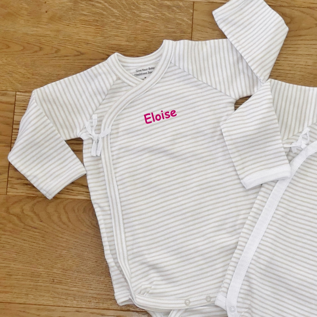 ....2 Pack Long-Sleeved Wrap-Style Bodysuits | 0-6mths..2 Pack de bodies enveloppants à manches longues | 0-6mois....