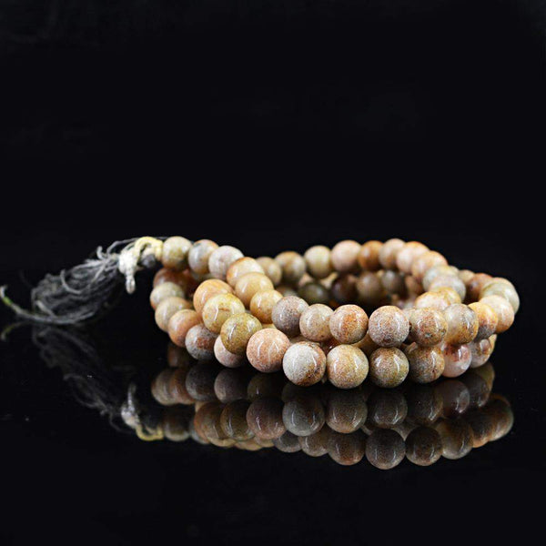 gemsmore:108 Prayer Mala Natural Agate Necklace Unheated Round Beads