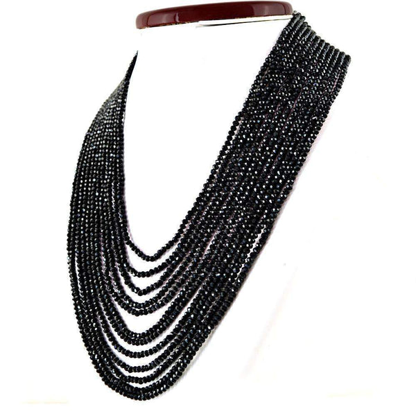 gemsmore:12 Strand Black Spinel Necklace Natural Faceted Round Beads