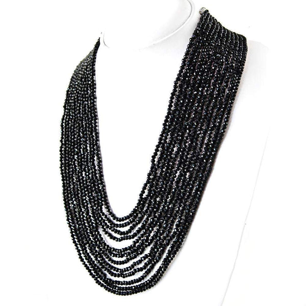 gemsmore:12 Strand Black Spinel Necklace Natural Round Shape Faceted Beads