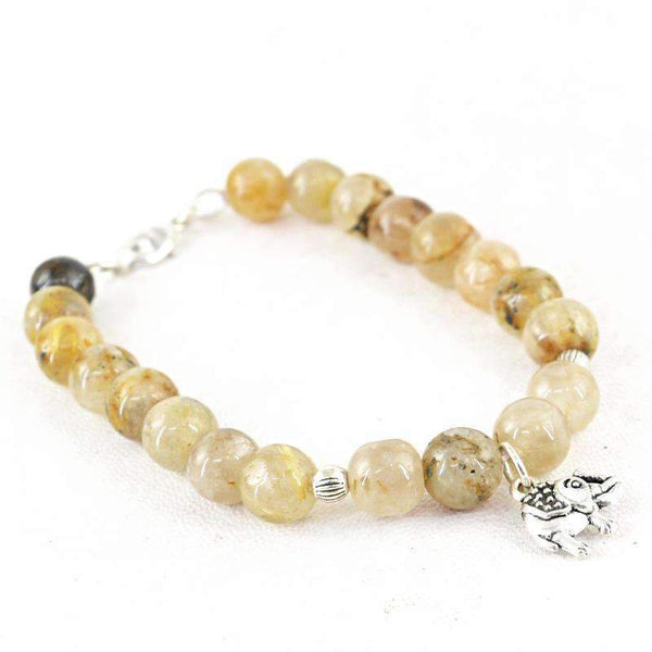 gemsmore:143.50 Cts Rutile Quartz Bracelet Natural Round Shape Untreated Beads