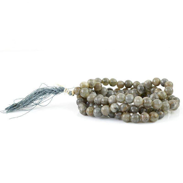 gemsmore:108 Prayer Mala Natural Grey Agate Necklace Round Shape Untreated Beads