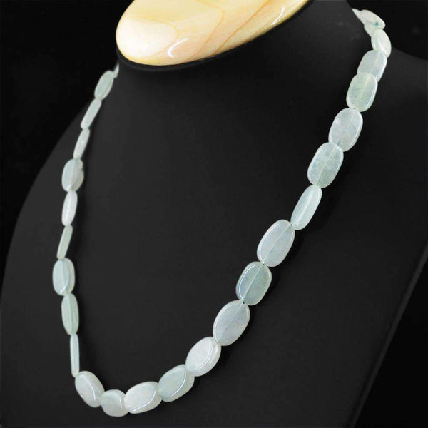 gemsmore:2 Line Green Aquamarine Necklace Natural Oval Shape Untreated Beads