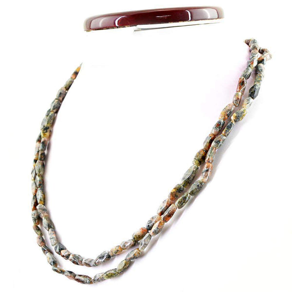 gemsmore:2 Line Rutile Quartz Necklace Natural Untreated Faceted Beads