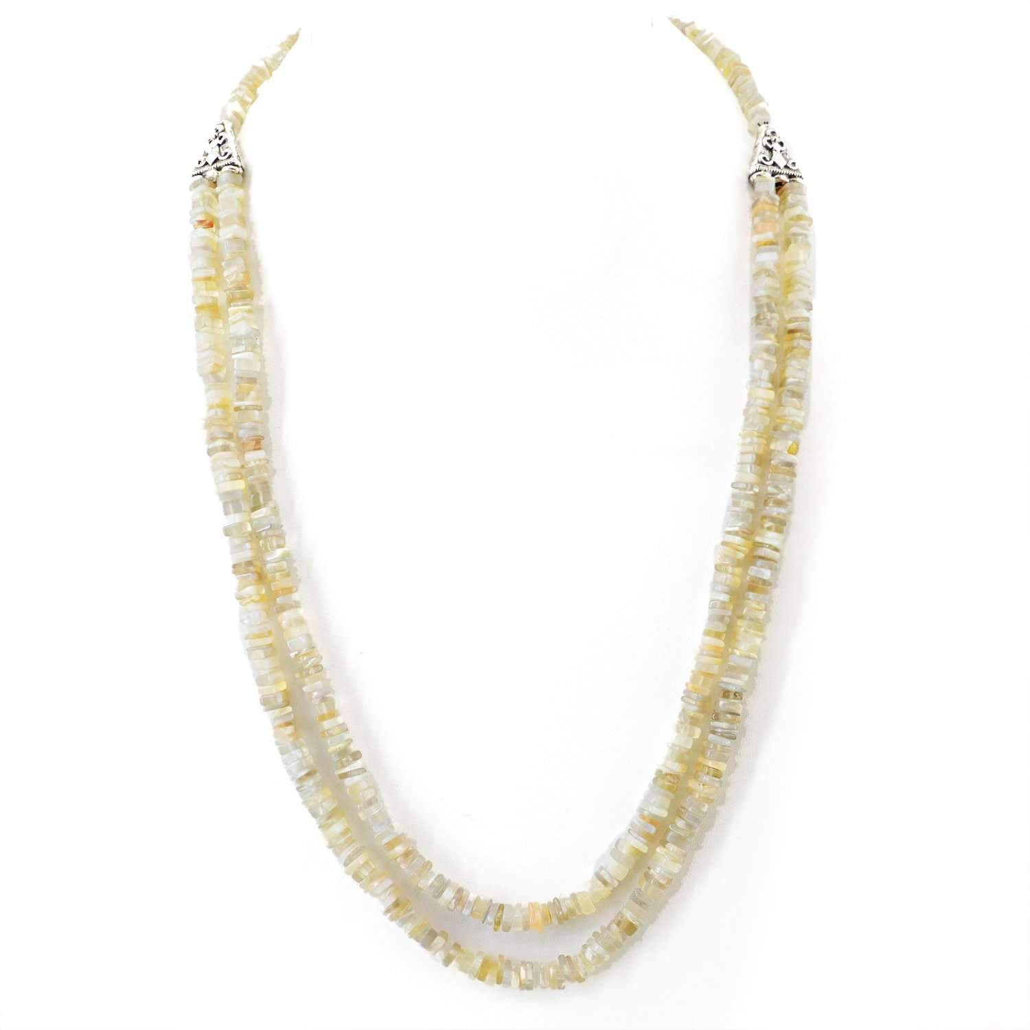 gemsmore:2 Strand Agate Necklace Natural Untreated Beads