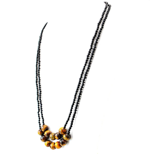 gemsmore:2 Strand Black Spinel & Golden Tiger Eye Necklace Natural Round Shape Beads