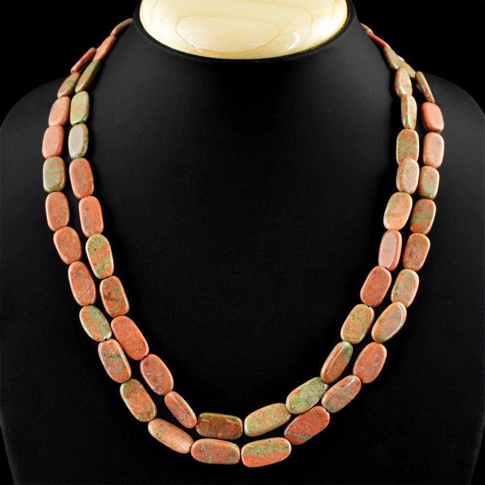 gemsmore:2 Strand Blood Green Unakite Necklace Natural Untreated Beads