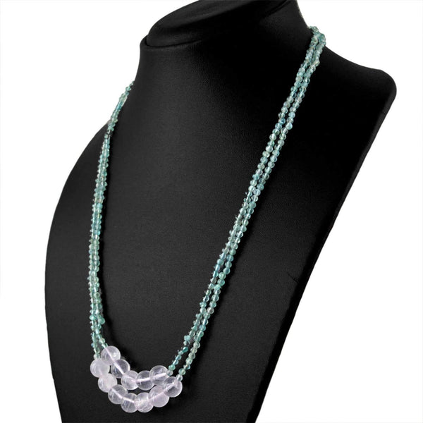 gemsmore:2 Strand Blue Apatite & Pink Rose Quartz Necklace Natural Round Shape Beads