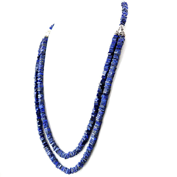 gemsmore:2 Strand Blue Lapis Lazuli Necklace Natural Unheated Beads - Free Shipping