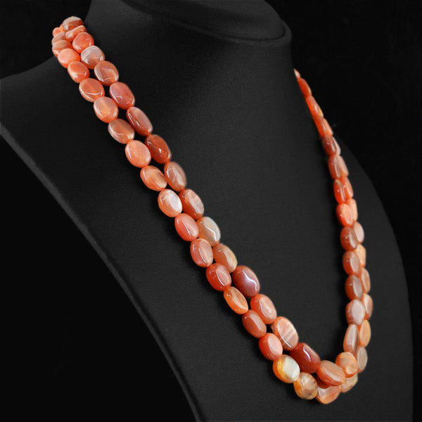 gemsmore:2 Strand Moonstone Necklace Natural Oval Shape Untreated Beads