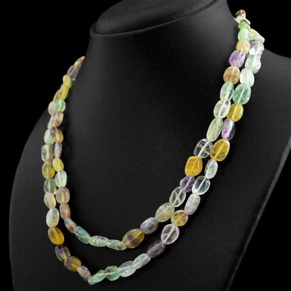 gemsmore:2 Strand Multicolor Fluorite Necklace Natural Untreated Oval Beads