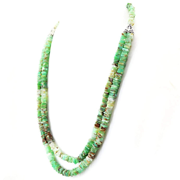 gemsmore:2 Strand Peruvian Opal Necklace Natural Untreated Beads - Wholesale Price