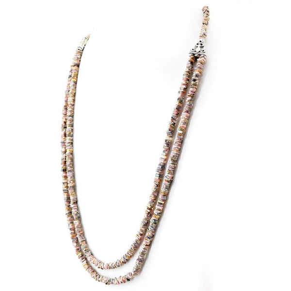 gemsmore:2 Strand Pink Australian Opal Necklace Natural Untreated Beads - Amazing