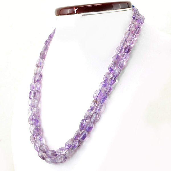 gemsmore:2 Strand Purple Amethyst Necklace Natural Untreated Oval Beads