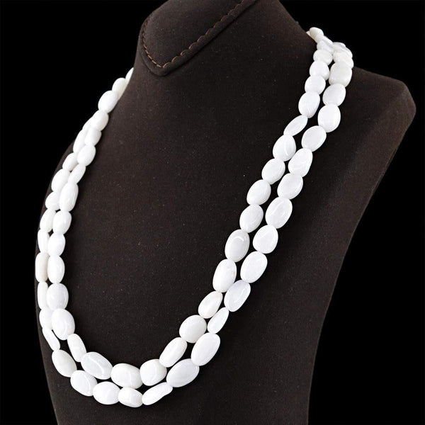 gemsmore:2 Strand White Agate Necklace Natural Untreated Oval Beads