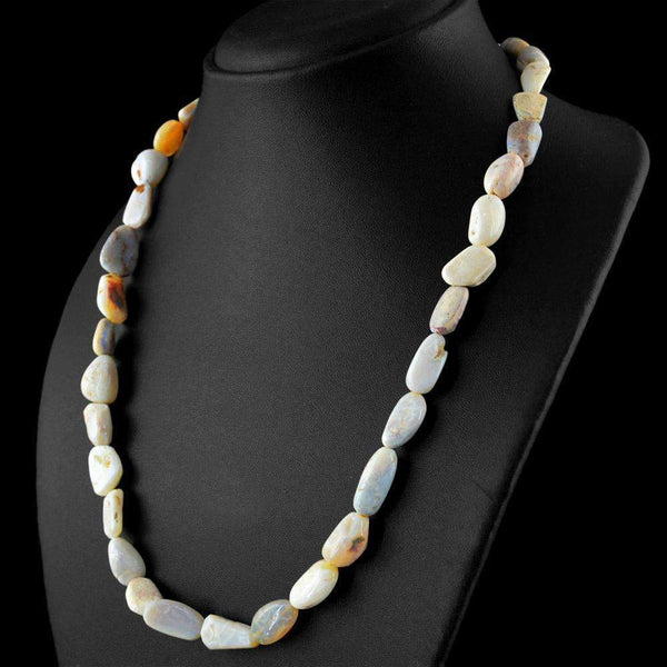 gemsmore:20 Inches Long Australian Opal Necklace - Natural Untreated Beads