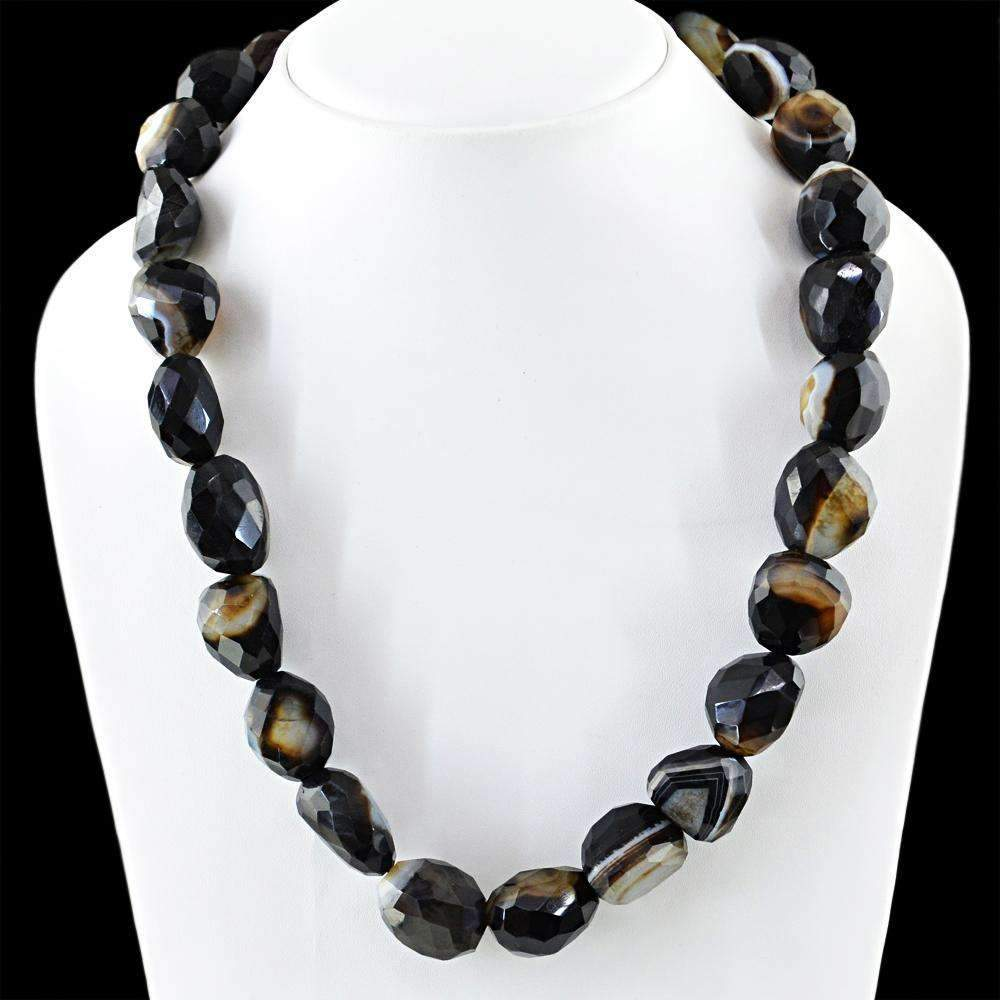 gemsmore:20 Inches Long Black Onyx Necklace Natural Faceted Beads