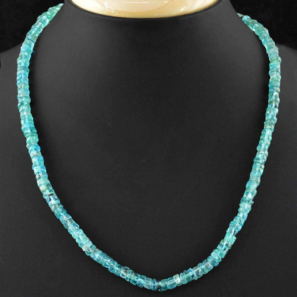 gemsmore:20 Inches Long Blue Apatite Necklace Natural Round Shape Beads