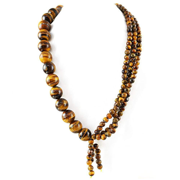 gemsmore:20 Inches Long Golden Tiger Eye Necklace Natural Round Beads