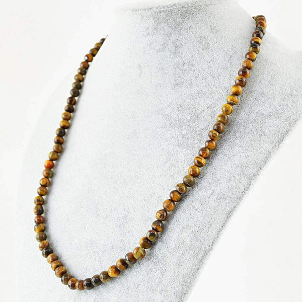 gemsmore:20 Inches Long Golden Tiger Eye Necklace Natural Round Shape Beads
