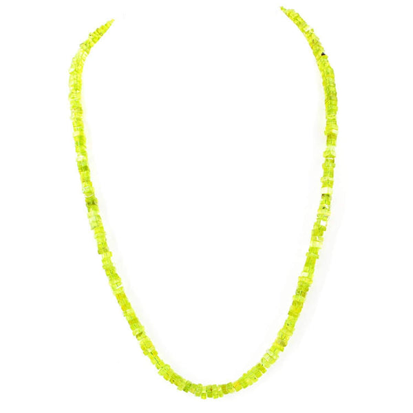 gemsmore:20 Inches Long Green Peridot Natural Unheated Beads Necklace