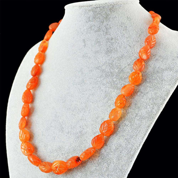 gemsmore:20 Inches Long Orange Carnelian Necklace - Natural Pear Shape Carved Beads