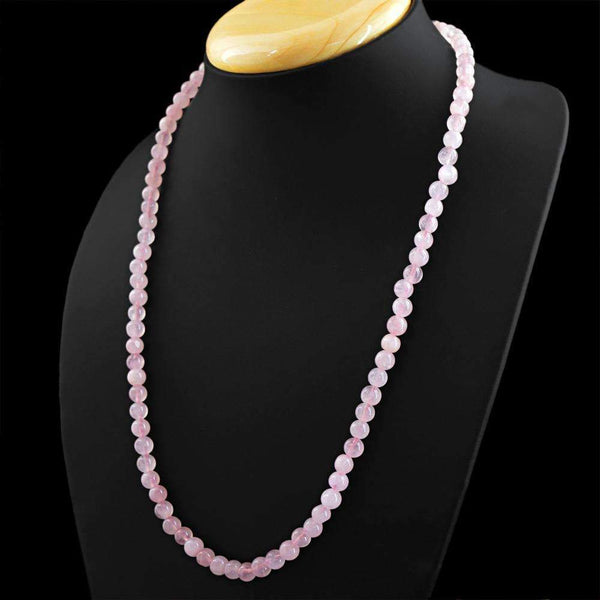 gemsmore:20 Inches Long Pink Rose Quartz Necklace Natural Round Shape Beads - On Sale