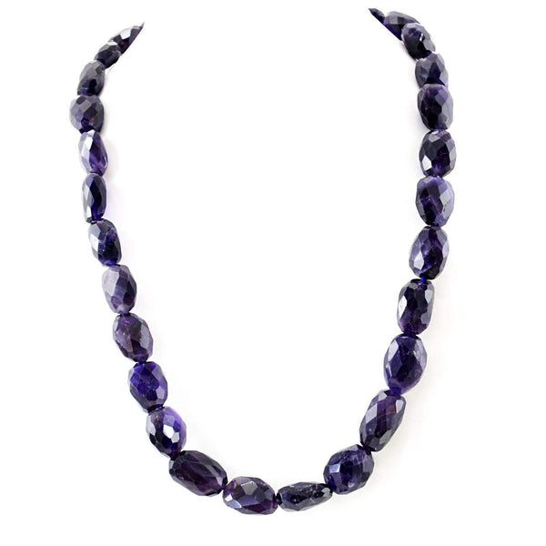 gemsmore:20 Inches Long Purple Amethyst Necklace Natural Faceted Beads
