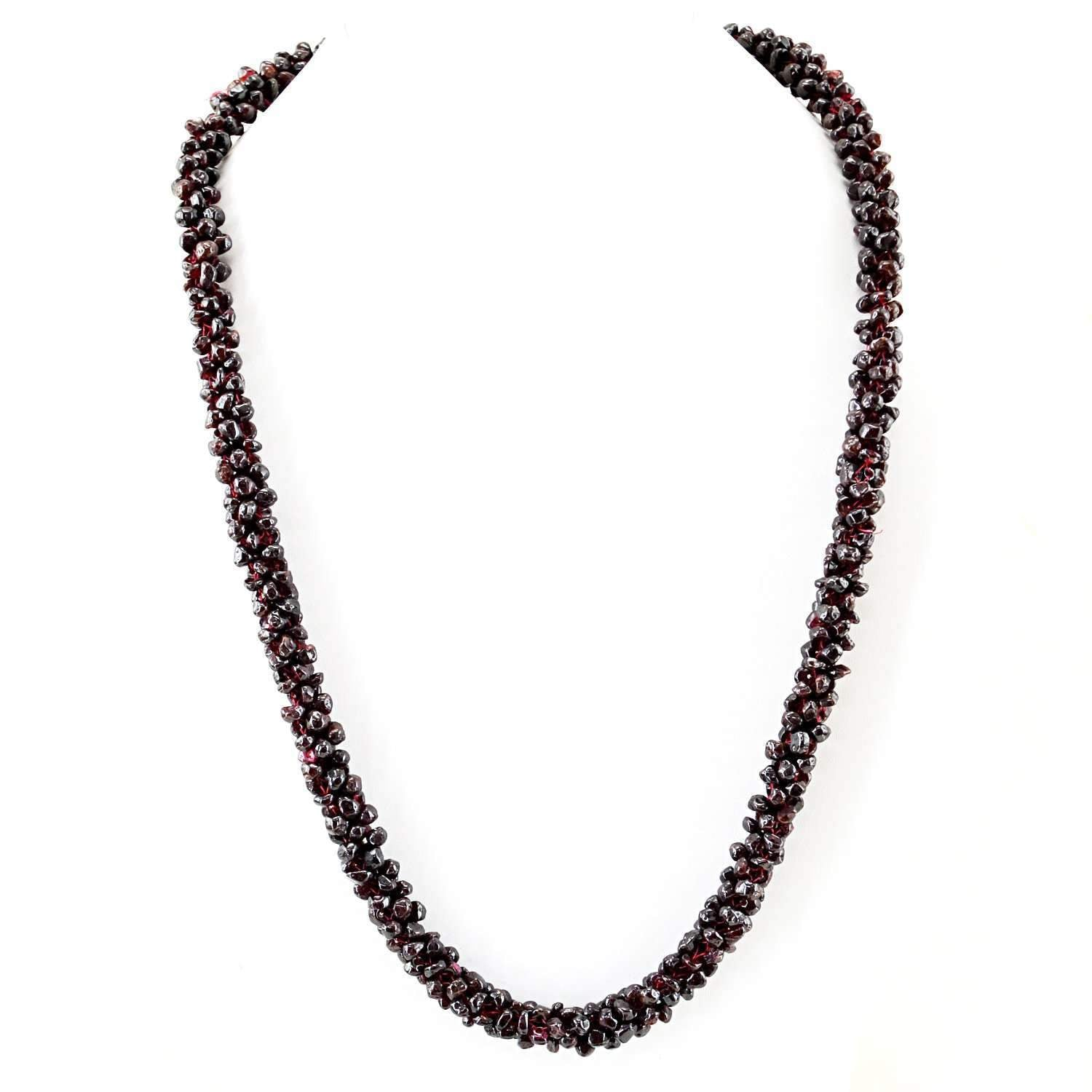 gemsmore:20 Inches Long Red Garnet Necklace Natural Unheated  Beads