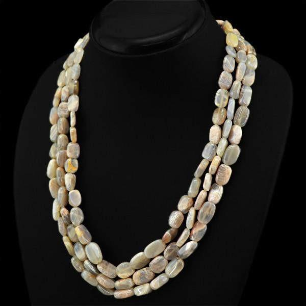 gemsmore:3 Line Agate Necklace Natural Oval Shape Untreated Beads