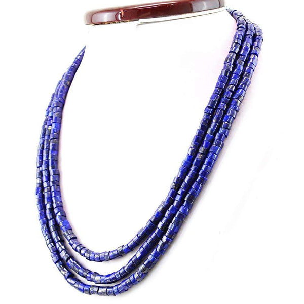 gemsmore:3 Line Blue Lapis Lazuli Necklace Natural Round Shape Beads