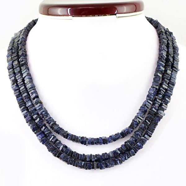 gemsmore:3 Line Blue Tanzanite Necklace Natural Genuine Beads