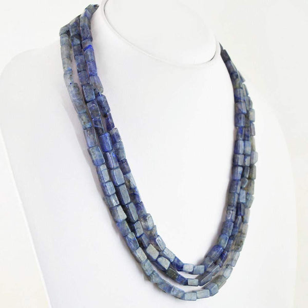 gemsmore:3 Line Blue Tanzanite Necklace Natural Untreated Beads