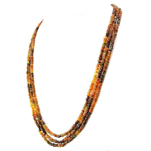 gemsmore:3 Line Hessonite Garnet Necklace Natural Round Cut Beads